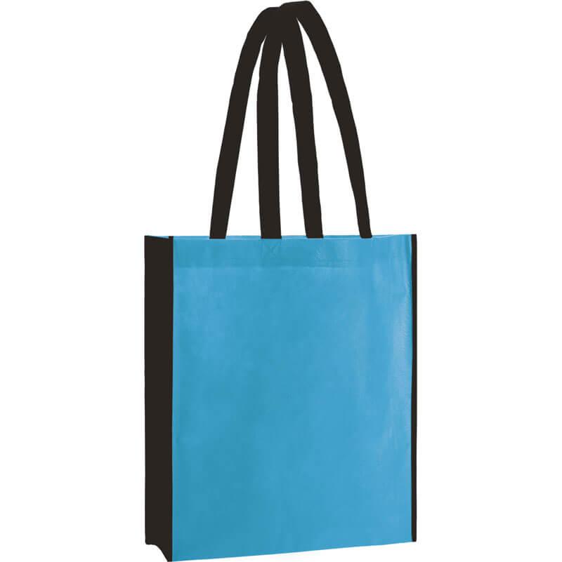 PP Tasche City Bag 2 mit langen Henkeln in Hellblau/Schwarz | Druckerei Dorsten.de