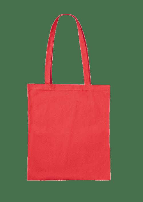 Baumwolltasche unbedruckt rot mit langen Henkeln