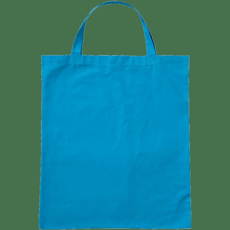 Stofftaschen bedrucken lassen günstig Hellblau mit kurzen henkeln