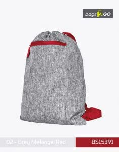Gymsac Miami PP Turnbeutel Grey Melange Red bags2go BS15391