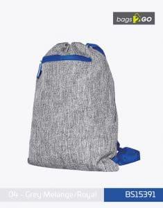 Gymsac Miami PP Turnbeutel Grey Melange Royal bags2go BS15391