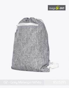 Gymsac Miami PP Turnbeutel Grey Melange White bags2go BS15391