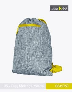 Gymsac Miami PP Turnbeutel Grey Melange Yellow bags2go BS15391