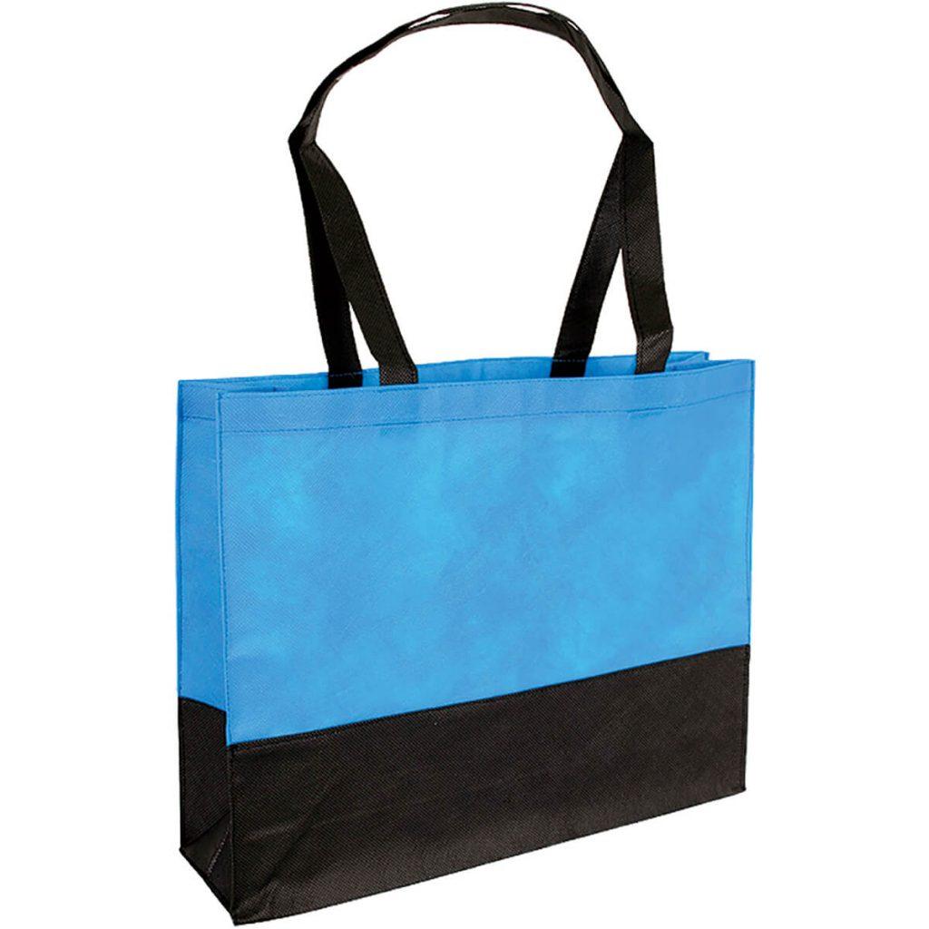 PP Tasche City Bag mit langen Henkeln Hellblau/Schwarz   Druckerei Dorsten.de-schwarz