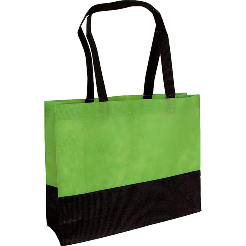 PP Tasche City Bag mit langen Henkeln Hellgrün/Schwarz   Druckerei Dorsten.de-schwarz
