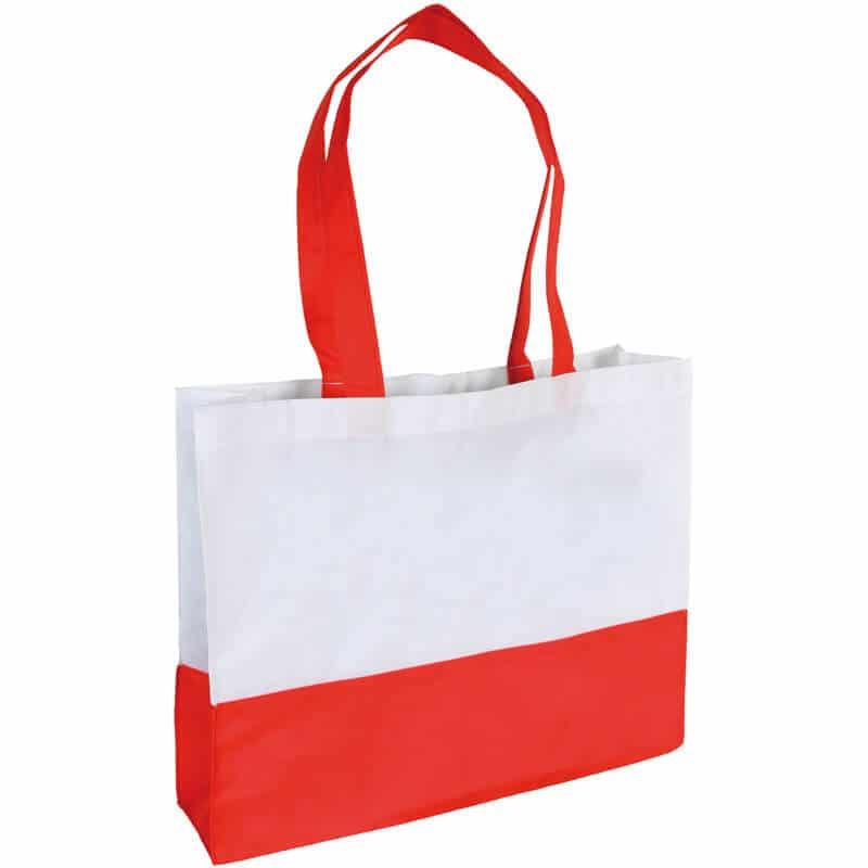 PP Tasche City Bag mit langen Henkeln Weiß/Rot   Druckerei Dorsten.de-schwarz