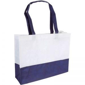 PP Tasche City Bag mit langen Henkeln Weiß/Dunkelblau | Druckerei Dorsten.de-schwarz