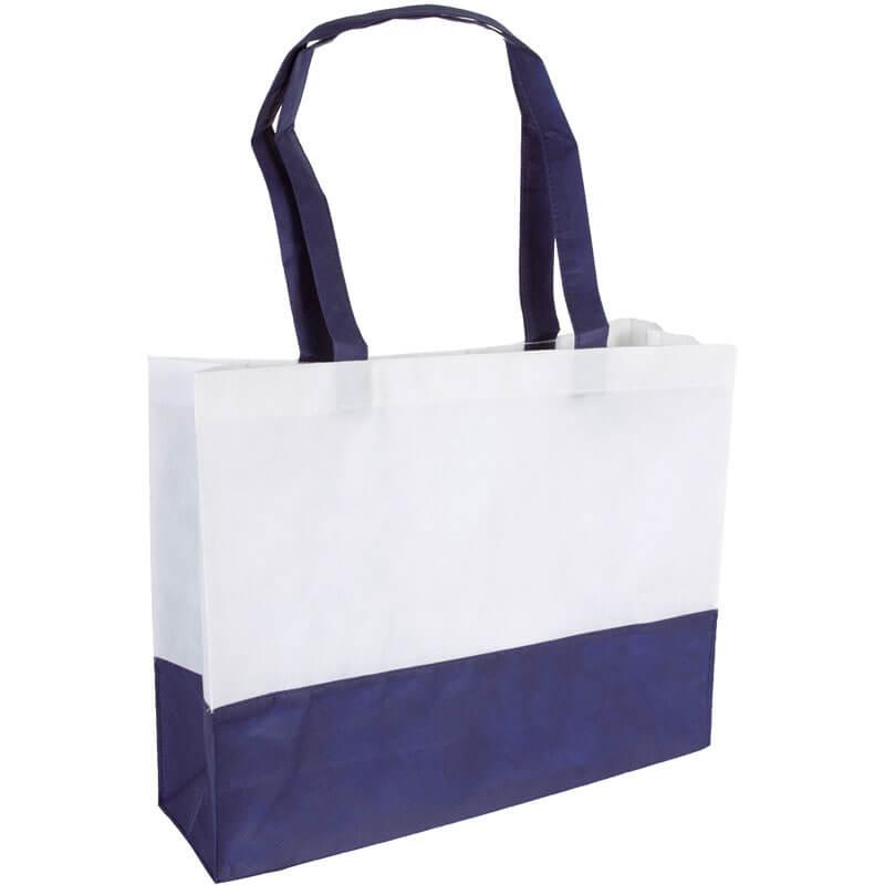 PP Tasche City Bag mit langen Henkeln Weiß/Dunkelblau   Druckerei Dorsten.de-schwarz