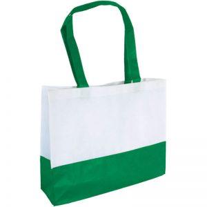 PP Tasche City Bag mit langen Henkeln Weiß/Dunkelgrün | Druckerei Dorsten.de-schwarz