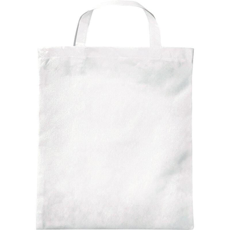 PP-Tasche mit Bodenfalte kurze Henkel in Weiß | Druckerei Dorsten.de