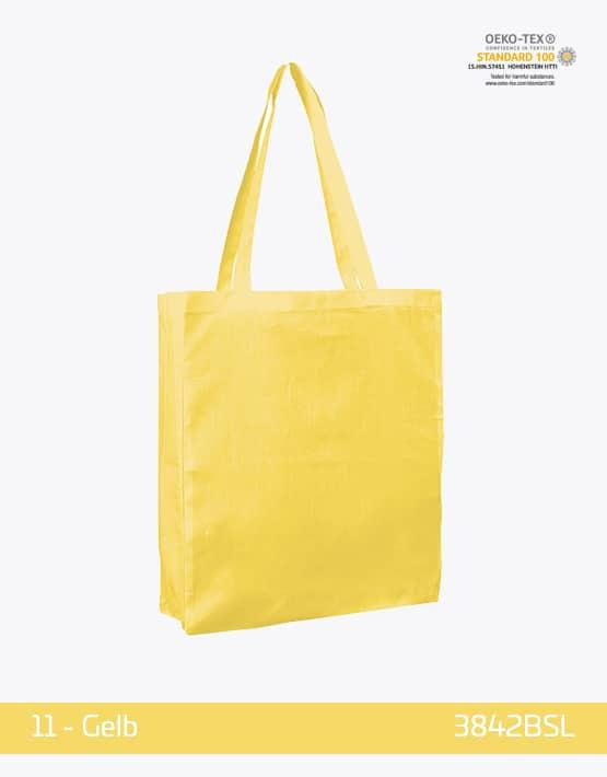 Baumwolltasche Bodenfalte und Seitenfalten Gelb
