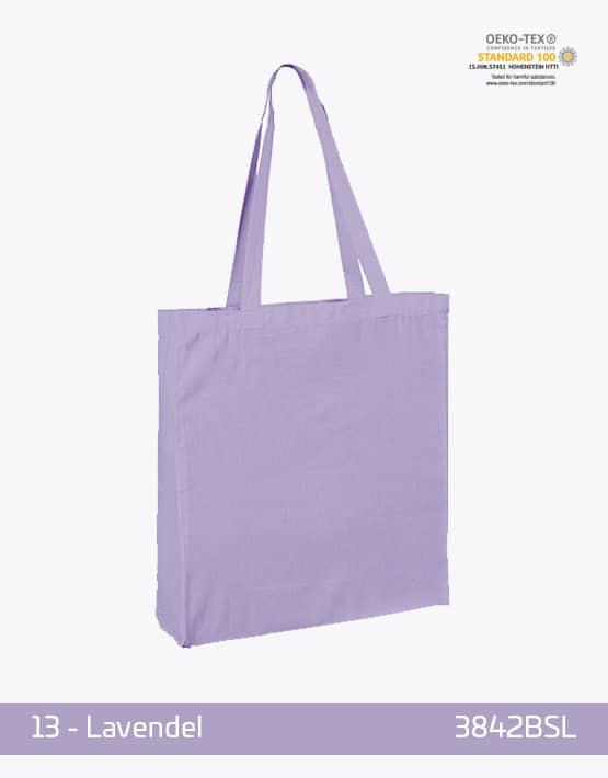 Baumwolltasche Bodenfalte und Seitenfalten Lavendel