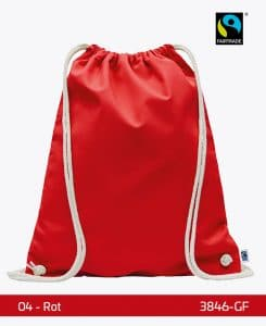 Fairtrade Turnbeutel Gymsack Rot 38 x 46 cm 3846-GF