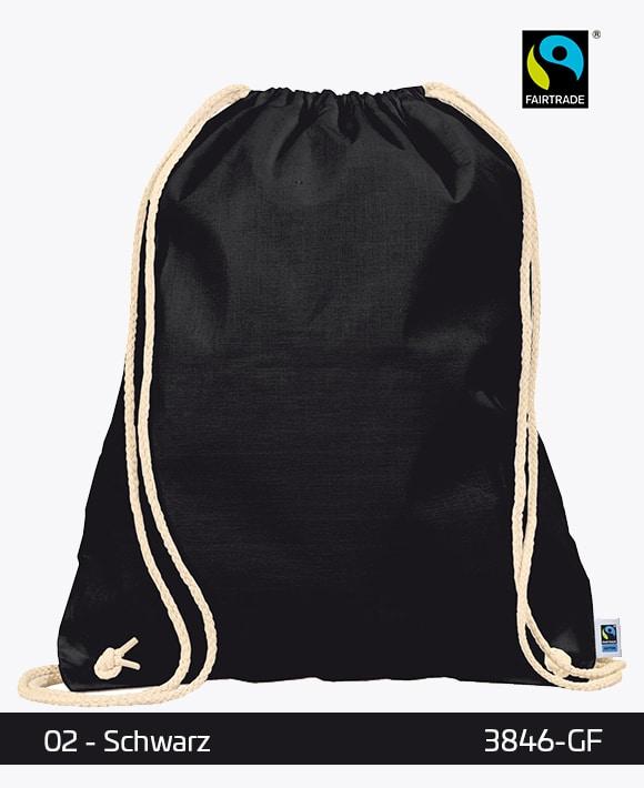 Fairtrade Turnbeutel Gymsack Schwarz 38 x 46 cm 3846-GF