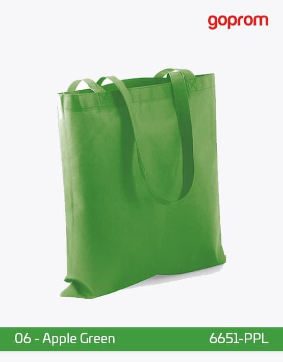 PP Non-Woven Tasche Apple Green lange Henkel