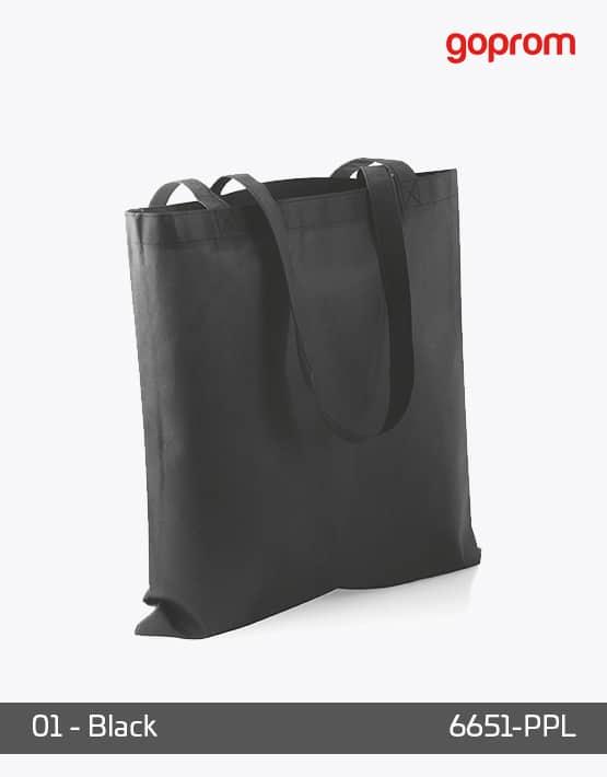 PP Non-Woven Tasche Black lange Henkel
