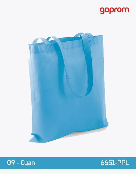 PP Non-Woven Tasche Cyan lange Henkel