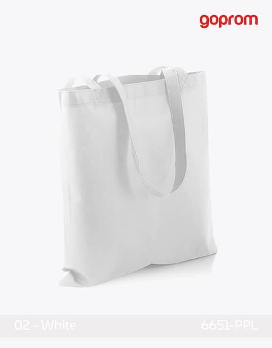 PP Non-Woven Tasche White lange Henkel
