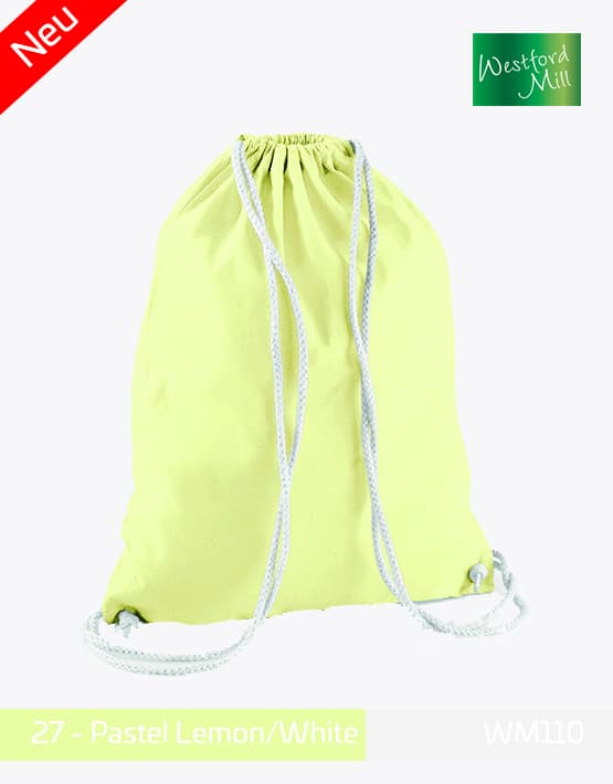 Turnbeutel Westford Mill WM110 Gymsac Pastel Lemon White