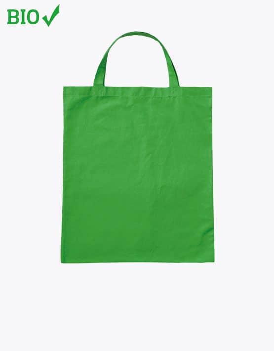 Bio Baumwolltasche GOTS grün kurze henkel 38x42cm