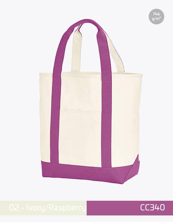 Canvas Heavy Bag CC340 Ivory Rapberry