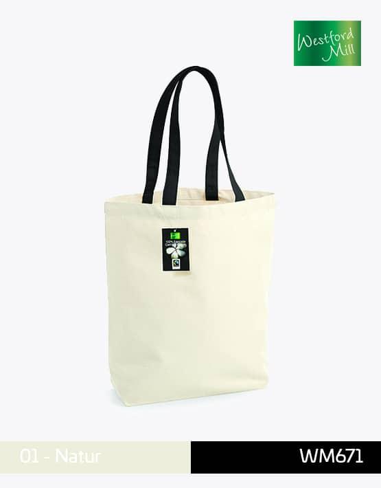 Fairtrade Cotton Camden Shopper WM671 Natur mit schwarzem Tragegriff