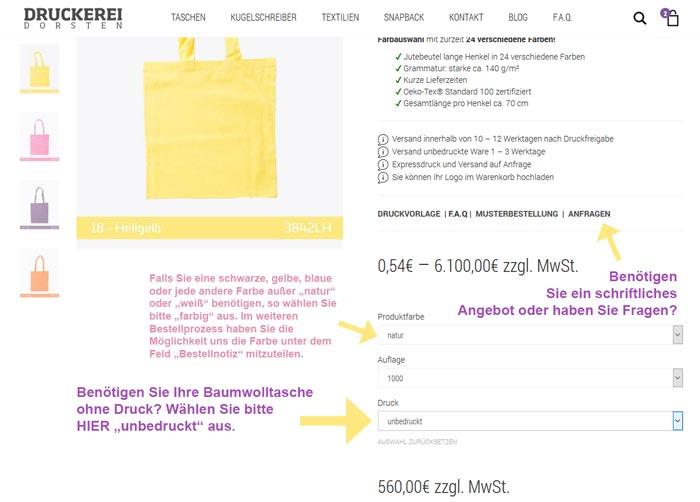 baumwolltaschen unbedruckt kaufen | Baumwolltaschen ohne Druck bestellen