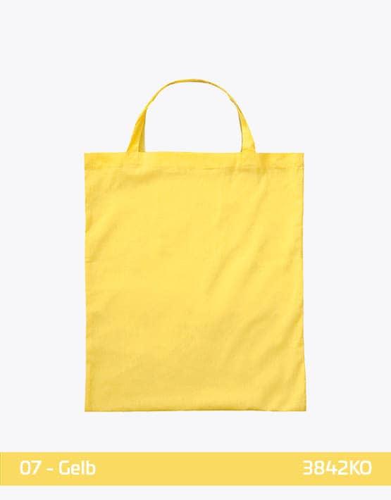 Bio-Baumwolltasche Gelb mit zwei kurzen Henkeln 38x42cm