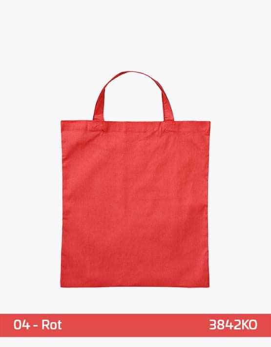 Bio-Baumwolltasche Rot mit zwei kurzen Henkeln 38x42cm