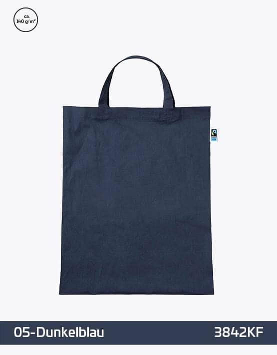 Tasche aus Fairtrade-Baumwolle mit zwei kurzen Henkeln Dunkelblau 38x42cm