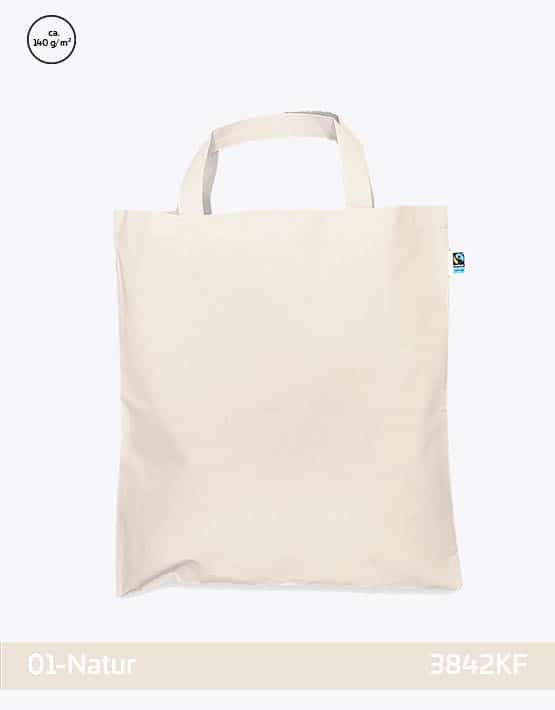 Tasche aus Fairtrade-Baumwolle mit zwei kurzen Henkeln Natur 38x42cm