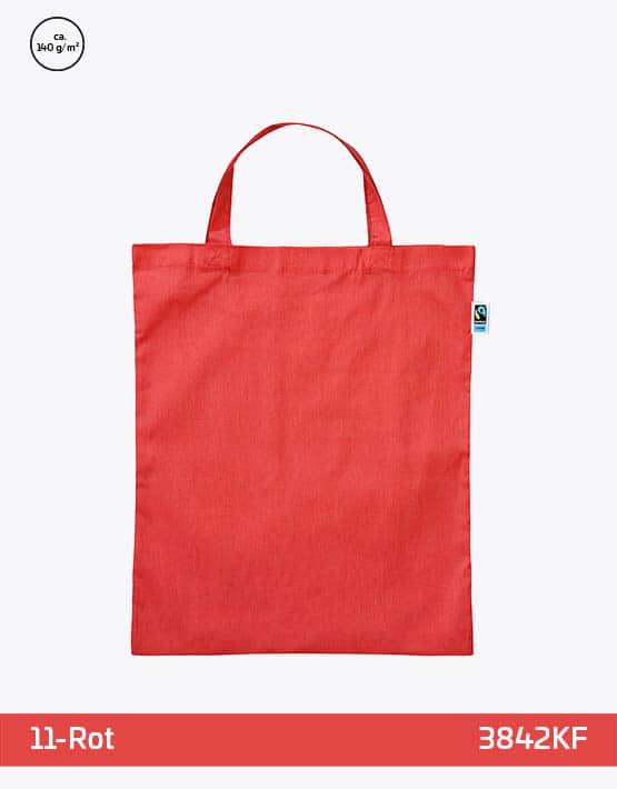 Tasche aus Fairtrade-Baumwolle mit zwei kurzen Henkeln Rot 38x42cm