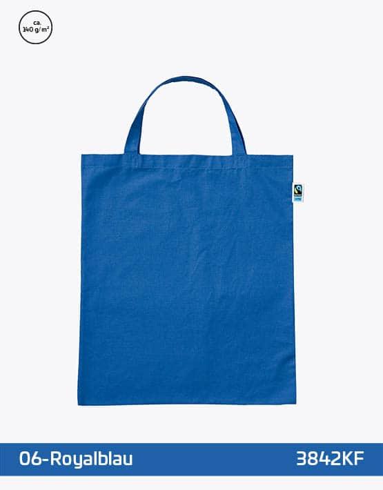 Tasche aus Fairtrade-Baumwolle mit zwei kurzen Henkeln Royalblau 38x42cm