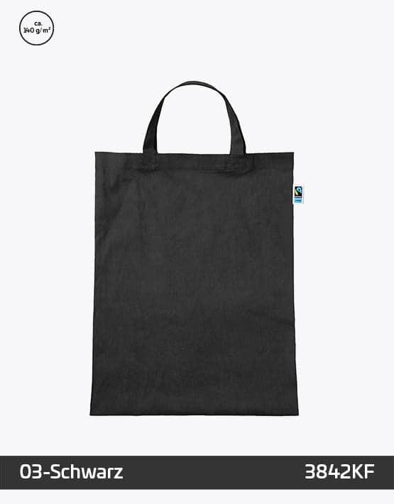 Tasche aus Fairtrade-Baumwolle mit zwei kurzen Henkeln Schwarz 38x42cm