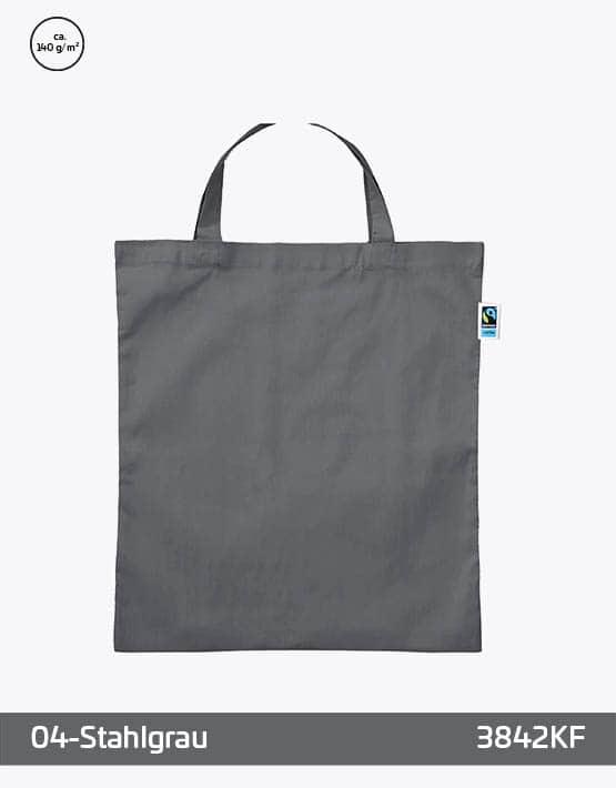 Tasche aus Fairtrade-Baumwolle mit zwei kurzen Henkeln Stahlgrau 38x42cm
