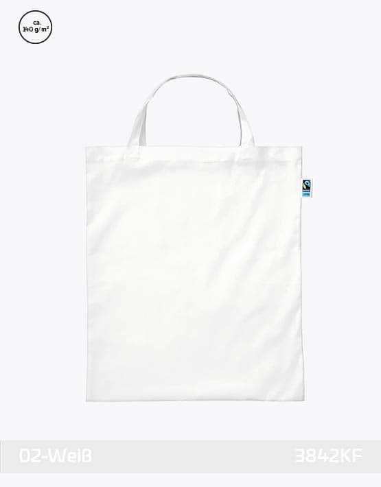 Tasche aus Fairtrade-Baumwolle mit zwei kurzen Henkeln Weiss 38x42cm