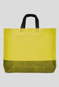 tasche zweifarbig boden- und seitenfalte gelb mit 2 schwarzen kurzen henkel 44x30x10cm