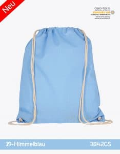 Turnbeutel aus Baumwolle 38 x 46 cm Himmelblau