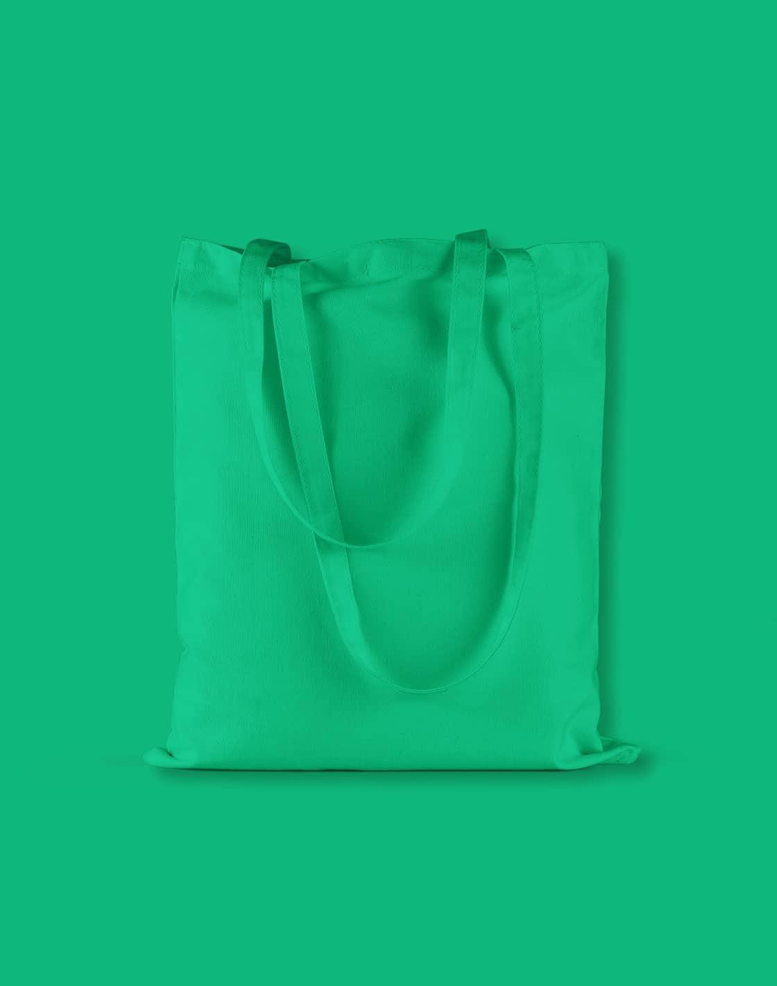 baumwolltaschen bunt kelly green lange henkel 38x42cm