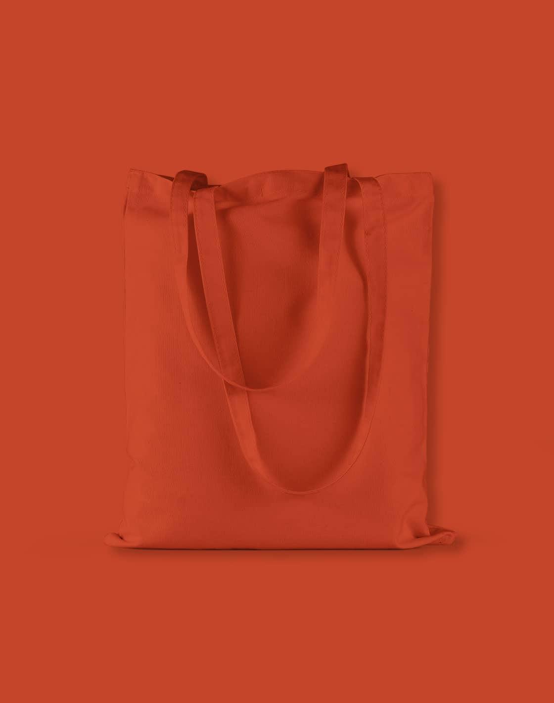baumwolltaschen bunt orange rust lange henkel 38x42cm