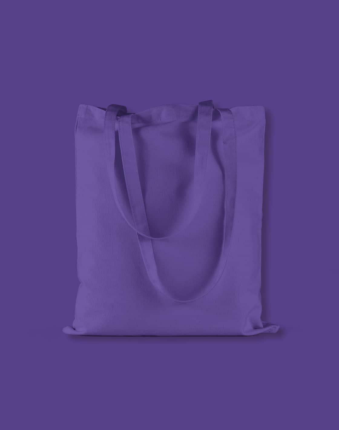 baumwolltaschen bunt purple lange henkel 38x42cm