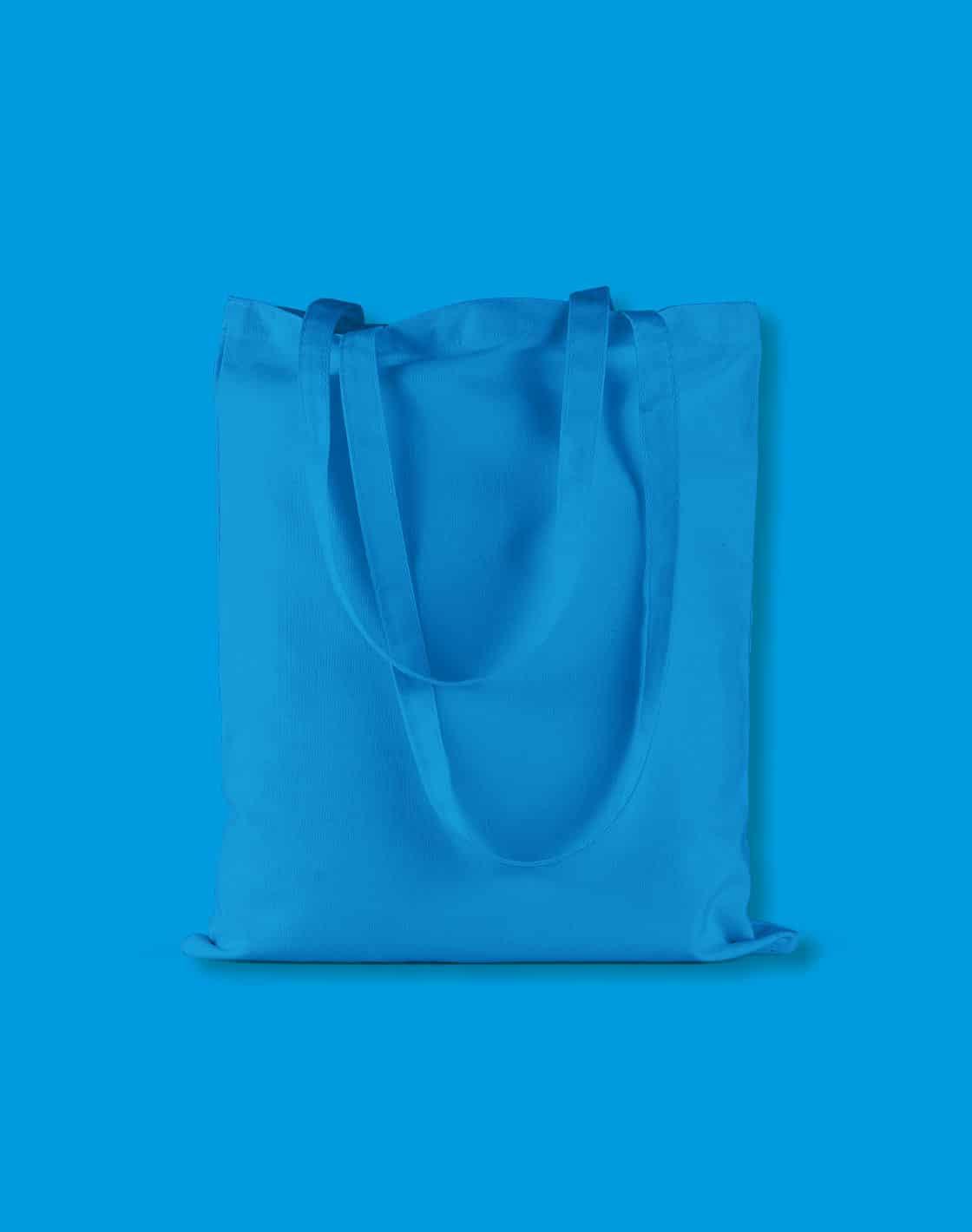 baumwolltaschen bunt saphire blue lange henkel 38x42cm