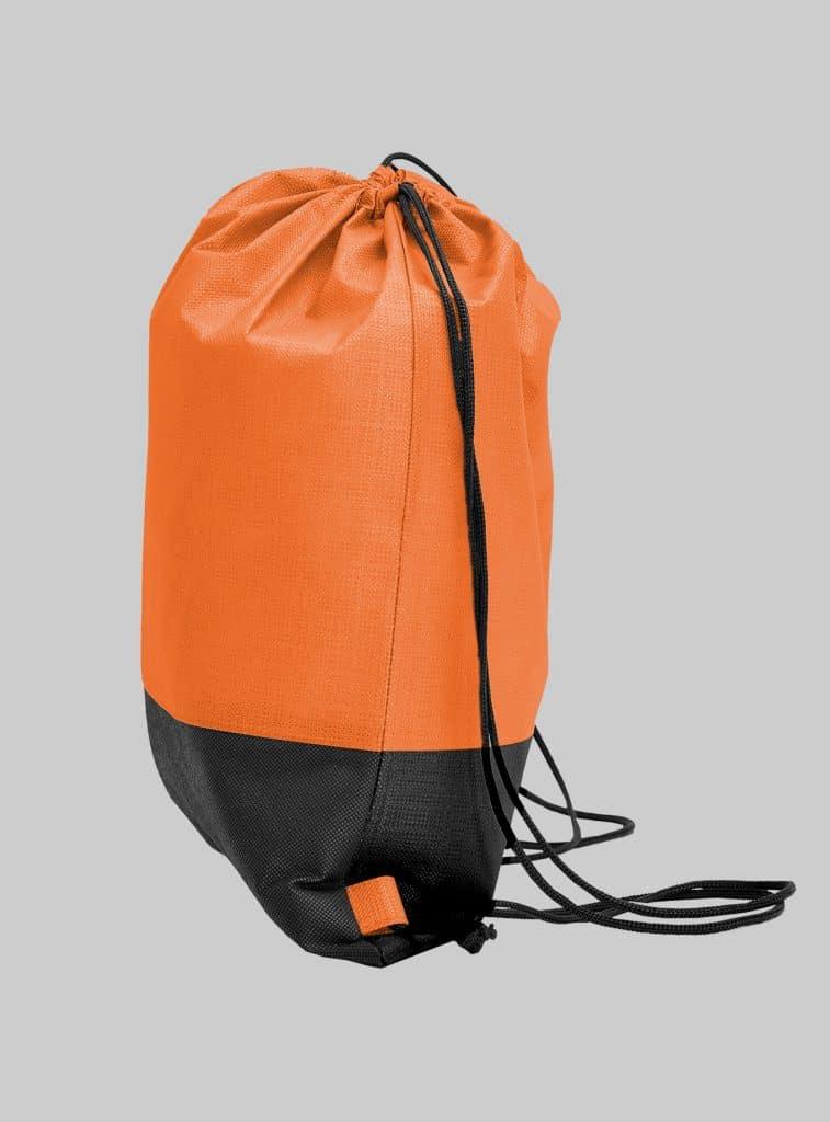 Turnbeutel Zweifarbig Orange Schwarz Seitenansicht 34 x 42 cm