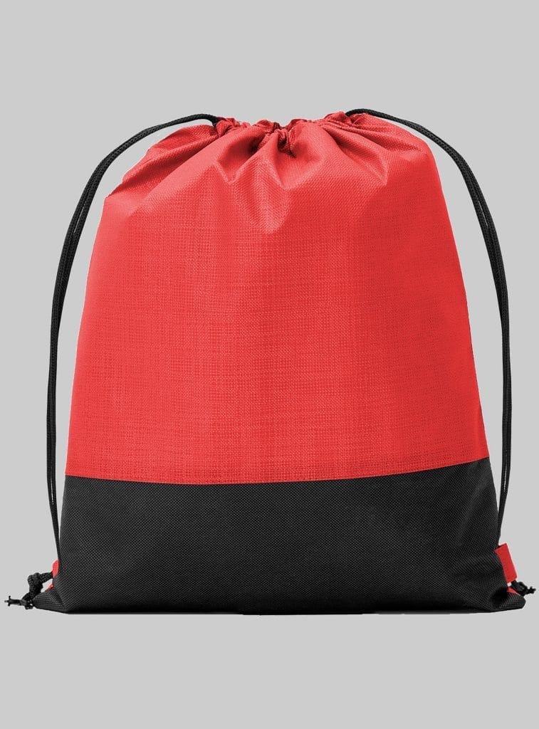 Turnbeutel Zweifarbig Rot Schwarz 34 x 42 cm