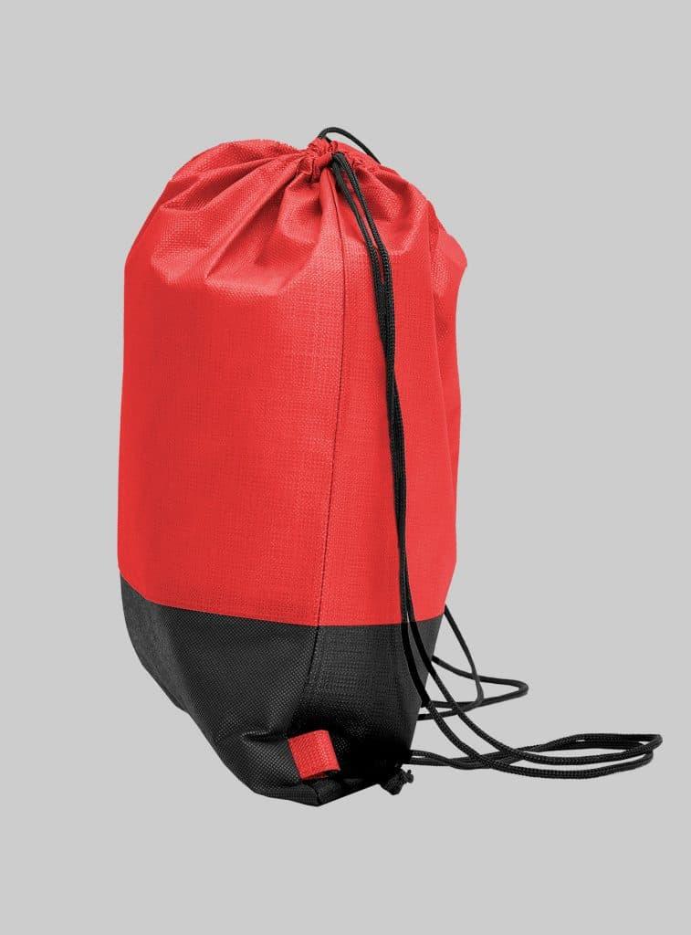 Turnbeutel Zweifarbig Rot Schwarz Seitenansicht 34 x 42 cm