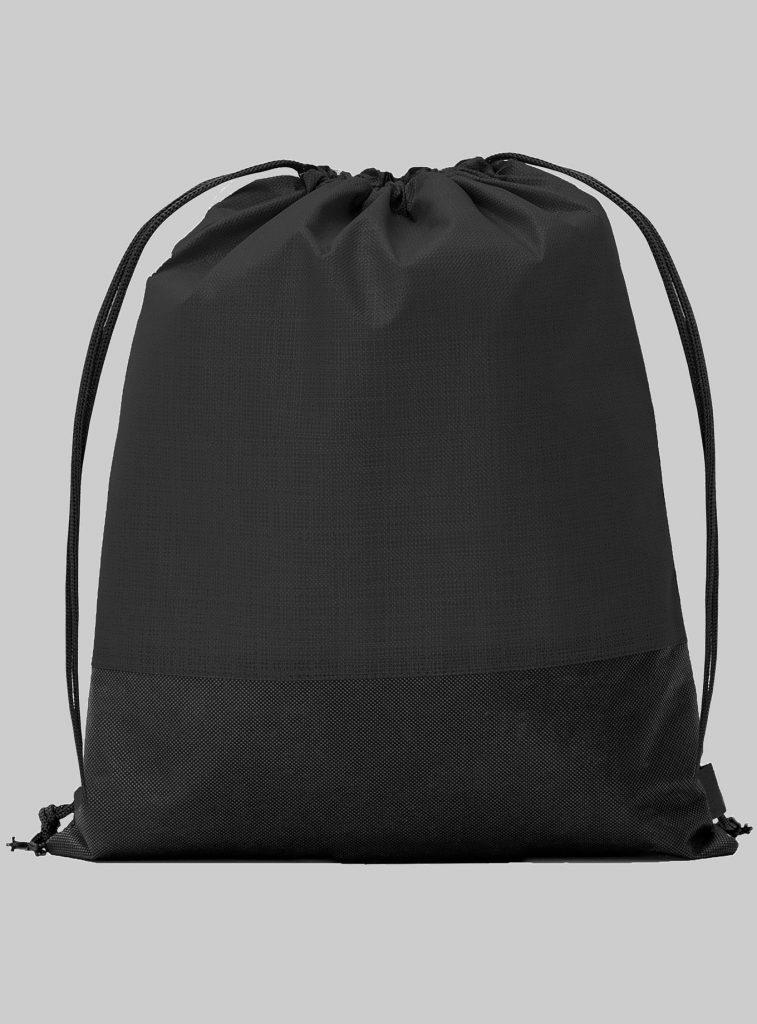 Turnbeutel Zweifarbig Schwarz Schwarz 34 x 42 cm