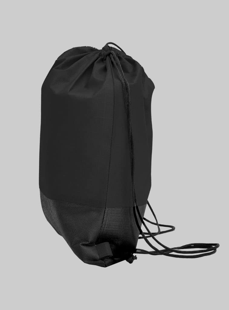 Turnbeutel Zweifarbig Schwarz Schwarz Seitenansicht 34 x 42 cm