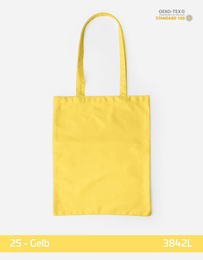 Baumwolltasche Gelb lange Henkel 38x42cm