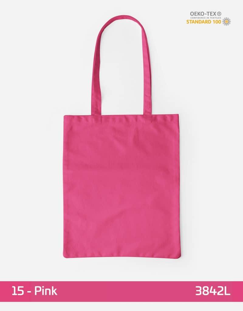 Baumwolltasche Pink lange Henkel 38x42cm