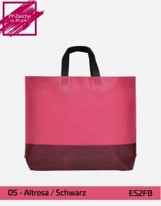einkaufstasche shopper 2 farbig mit bodenfalte altrosa schwarz